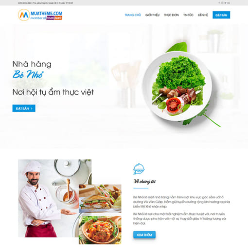 Mẫu Website Nhà Hàng MA-1030