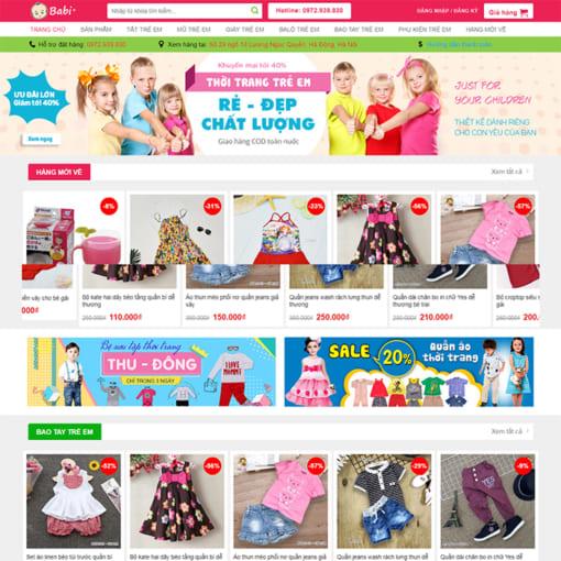Mẫu Website Shop Mẹ Và Bé MA-1112
