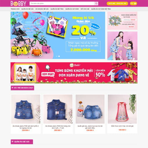 Mẫu Website Thời Trang Cho Bé MA-1113