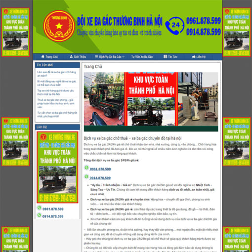Mẫu Website Thuê Xe Ba Gác MA-1163