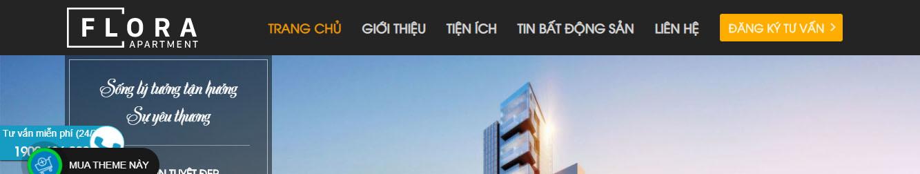 Căn hộ Flora Apartments – Theme WordPress bất động sản Flora