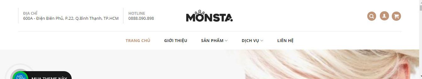MONSTA – Theme WordPress nữ trang, trang sức mẫu số 3
