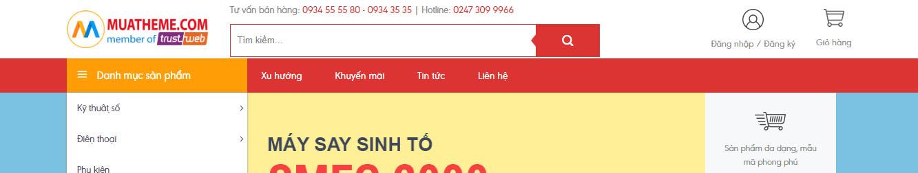 Store2 – Giao diện web thương mại điện tử mẫu số 2