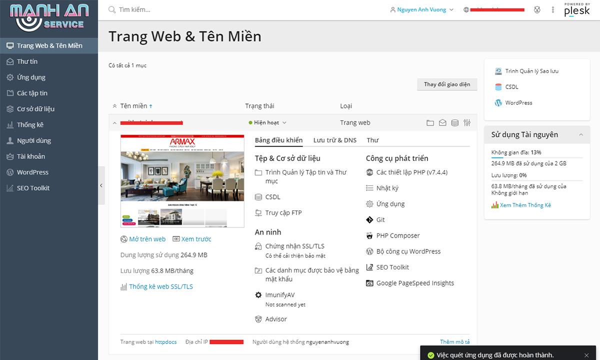 Giao diện hosting tiếng Việt - Dễ dàng sử dụng