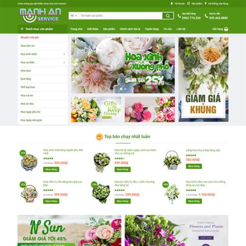 Mẫu Website Bán Hoa - Quà Tặng MA-038