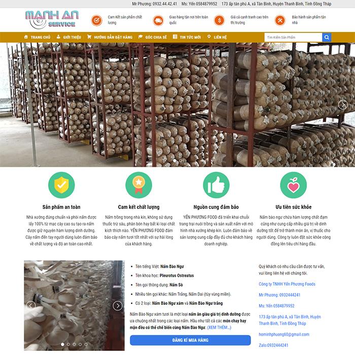 Mẫu Website Bán Nấm Bào Ngư MA-191