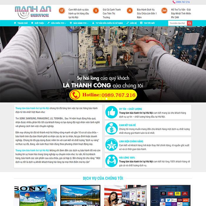 Mẫu Website Bảo Hành Tivi MA-114