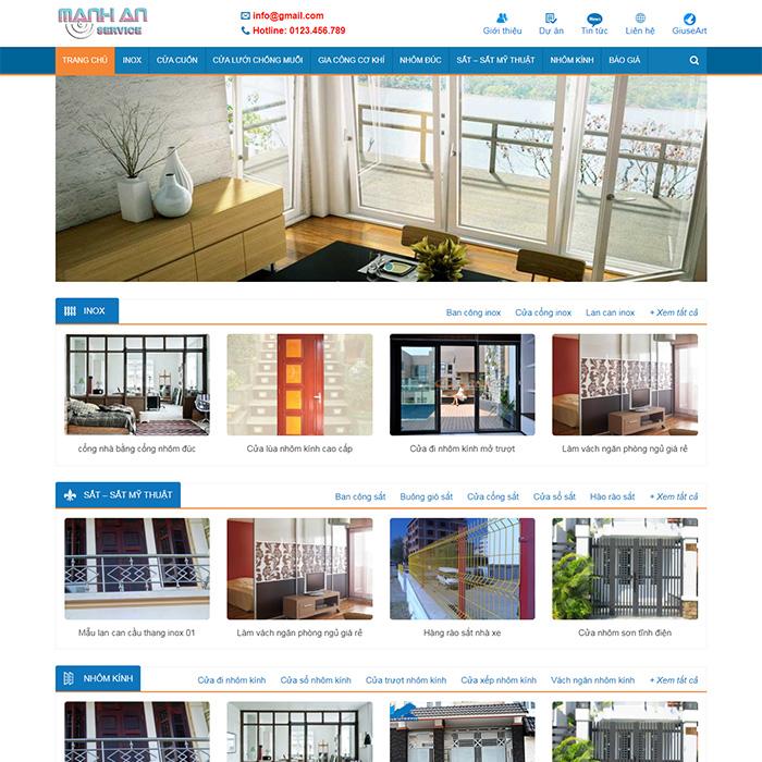 Mẫu Website Cơ Khí - Nhôm Kính MA-017