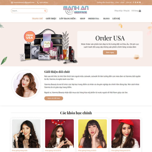 Mẫu Website Dậy Trang Điểm, Bán Mỹ Phẩm MA-021