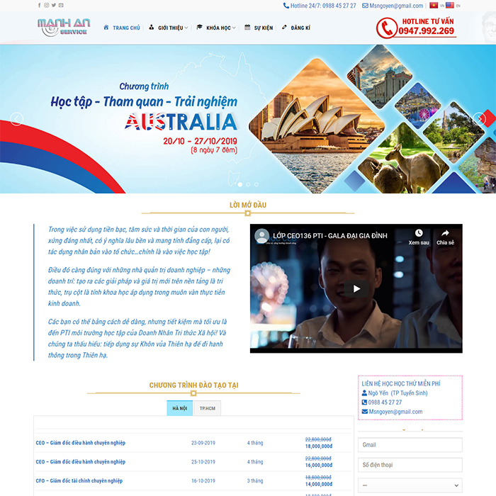 Mẫu Website Học Viện CEO MA-043