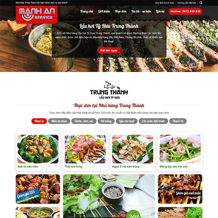 Mẫu Website Mẫu Website Nhà Hàng MA-041