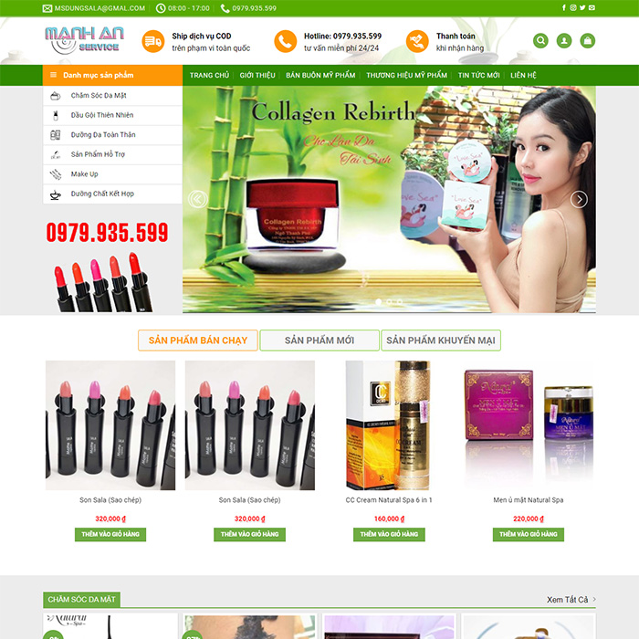 Mẫu Website Mỹ Phẩm MA-180