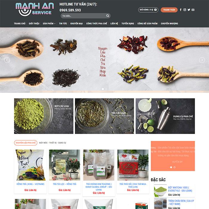 Mẫu Website Nguyên Liệu Trà Sữa MA-165