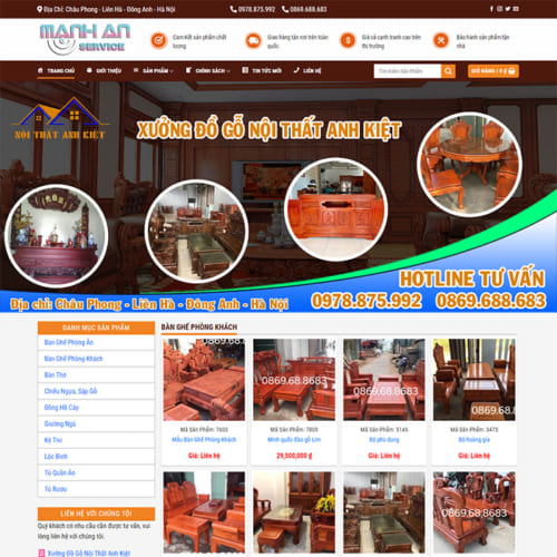 Mẫu Website Nội Thất Gỗ Tự Nhiên MA-134