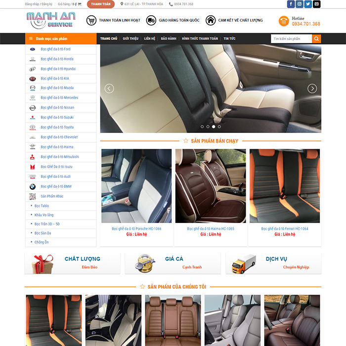 Mẫu Website Nội Thất Oto MA-117