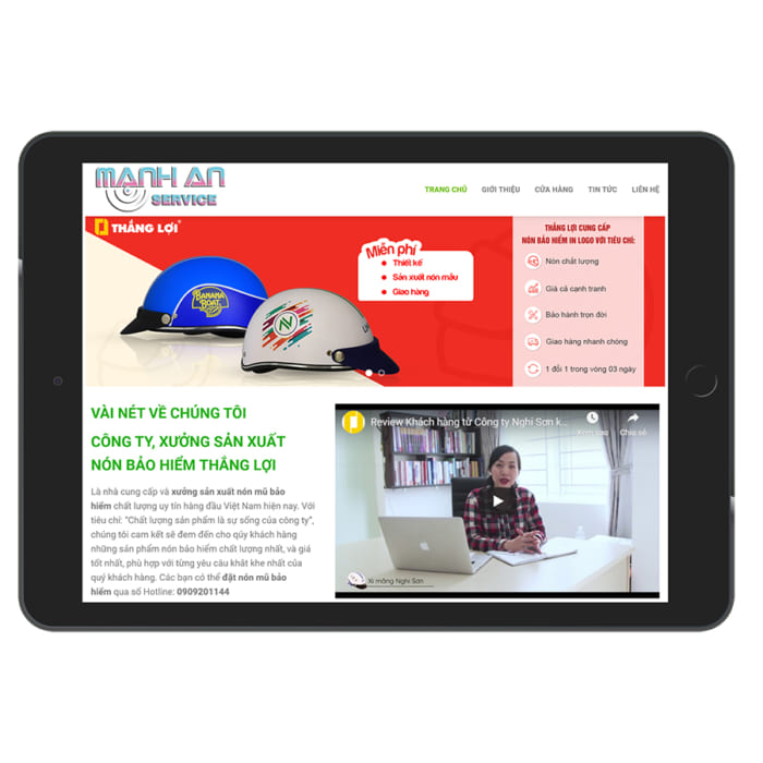 Mẫu Website Shop Bán Mũ Bảo Hiểm MA-042