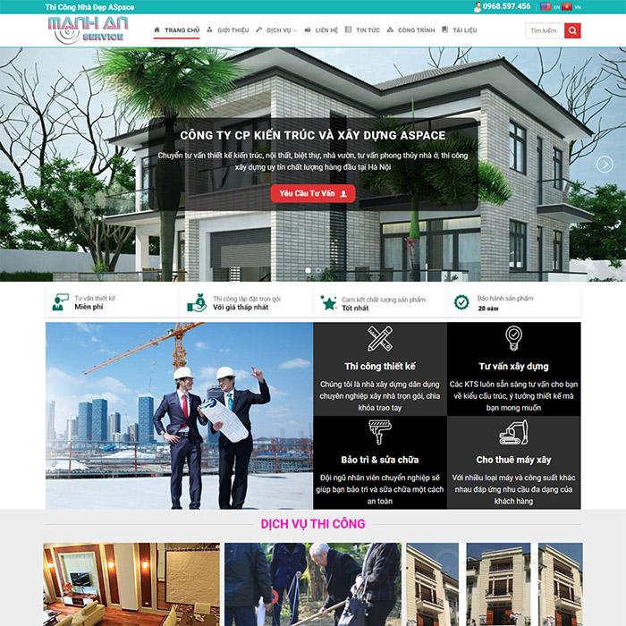 Mẫu Website Thi Công Nhà Đẹp MA-183
