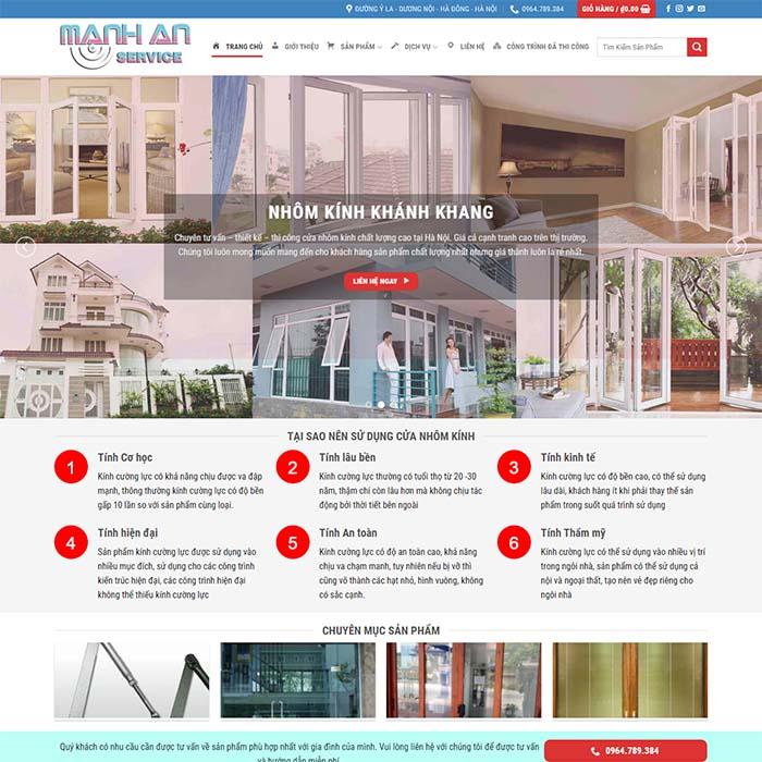 Mẫu Website Thi Công Nhôm Kính MA-122