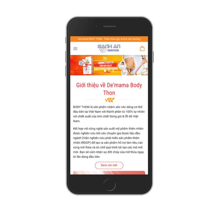 Mẫu Website Thực Phẩm Chức Năng MA-109