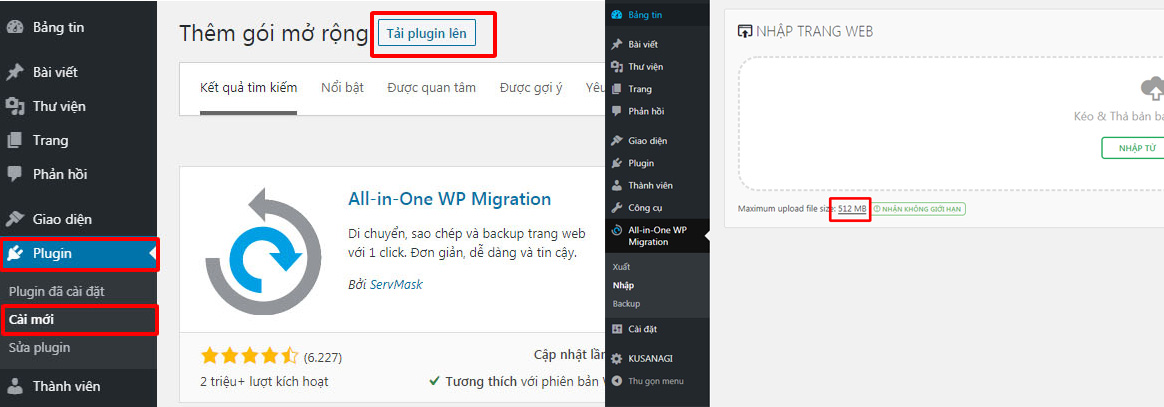 Hướng dẫn chuyển dữ liệu bằng All-in-One WP Migration