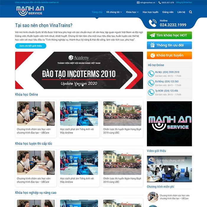 Mẫu Website Bán Khóa Học Online MA-211