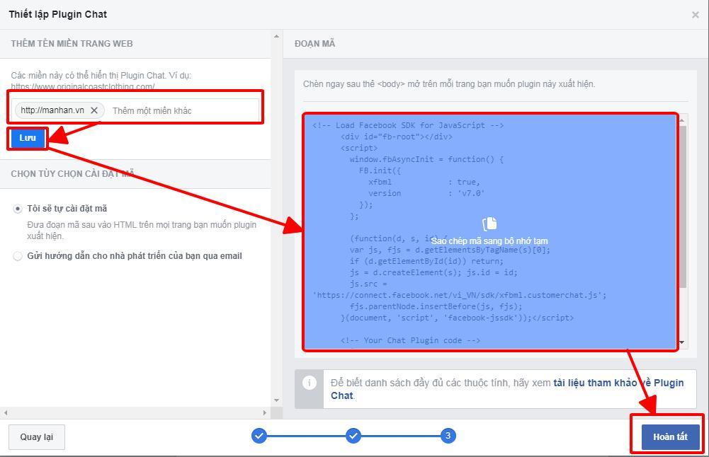 Hướng dẫn chèn hộp chat Facebook lên website