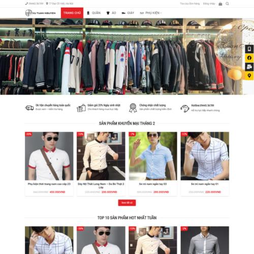Mẫu Website Shop Bán Quần Aó,Giày,Phụ Kiện MA-259
