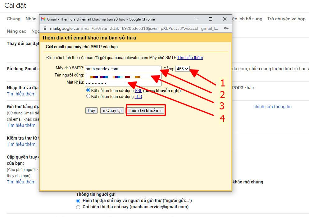 Hướng dẫn chuyển và nhận thư từ Yandex sang Gmail